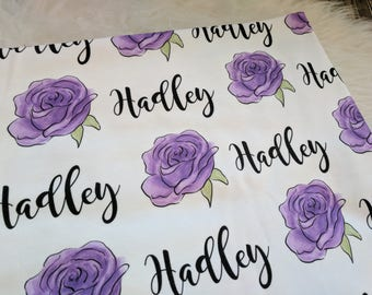 Personalized swaddle blanket purple rose: baby and toddler personalized name newborn hospital gift baby shower gift