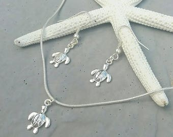 Sterling Silver Turtle Charm Necklace & Earring Set | Beach Style | Turtle Jewellery | Nautical Ocean Jewelery | Beach Lover Gift