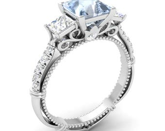 Princess Cut Natural Aquamarine Engagement Ring With VS And SI Diamond In 14K White Gold | Three Stone Aquamarine Engagement Ring