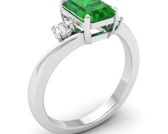 Three-Stone Engagement Ring | Emerald With SI Diamond 14K White Gold | Natural AAA Emerald Engagement Ring | Women's Ring | Emerald Ring