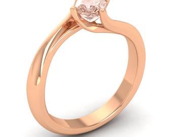 Princess Cut Ring | Morganite Engagement Ring | Morganite Rose Gold Ring | Anniversary Ring | Morganite Diamond Gold Ring | Solitaire Ring