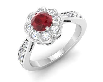 Natural Ruby Ring | Ruby Engagement Ring With Diamond | Ruby 14K White Gold | Flower Ring | Halo Engagement Ring | Anniversary Gift | Ring
