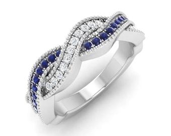Blue Sapphire Engagement Ring, 14K White Gold, Diamond Eternity Ring, Anniversary Ring, Wedding Ring, Promise Ring, Blue Sapphire Ring