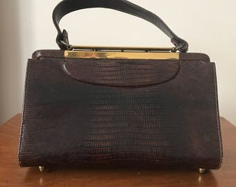 Elegant Lizard Skin Handbag