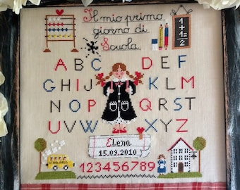 Chart Il Mio primo Giorno di Scuola-Bambina  (with inscriptions in Italian, English,French,alphabet and numbers- Hardcopy or PDF format