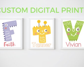 KIDS Room Printable Art, Monster Alphabet Print, CUSTOM Download Digital File 8x10 Digital Print