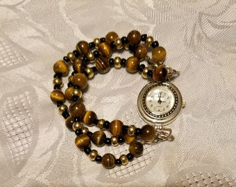 Three strand stretchy tiger eye bracelet interchangeable watch band