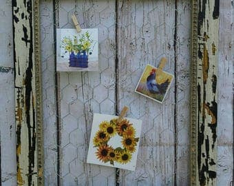 Wooden Chicken Wire Frame Memo Picture Board Card Holder 11x14 or 8x10