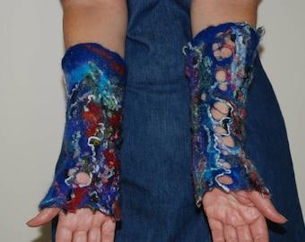 Women Felted Cuffs seasons Arm Warmers Merino wool Hippie cuffsCrazy wool technique