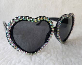 AB rhinestone sunglasses heart sunglasses lolita sunglasses