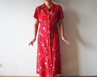 Red Floral Dress Button up Short Sleeve Summer Maxi Dress Large Plus Size