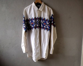 Men's Vintage 90s ROPER Western Shirt Long Sleeve Pearl Snap Made in usa