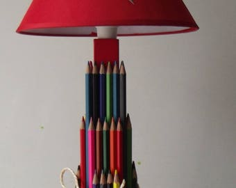 Table lamp, bedside or desk wooden colored pencils