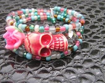 Day of the Dead Bracelet Wrap Around pink flower pink skull sugar skull 3 loop memory wire teal brown pink turquoise a crystal sugar skull