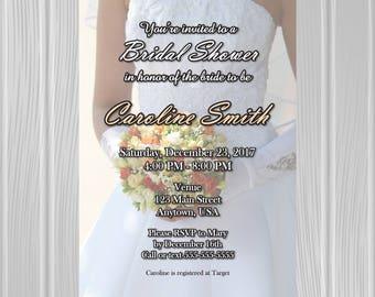 Bridal Shower Invitation   Bride with Bouquet Photo Background   Custom Invitation   *DIGITAL FILE*