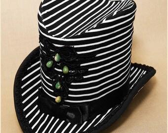 "Top Hat Steampunk Hat ""Lorena"" Stripped Black White Black Lace Ruby Zoizite Beads Satin Bow Handmade Unique piece"