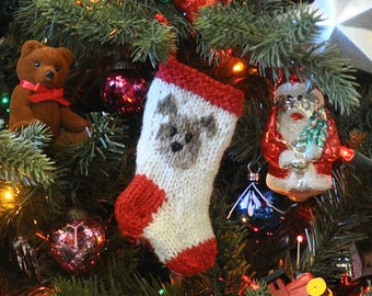 Doggie Hand-Knit Christmas Stocking Ornament