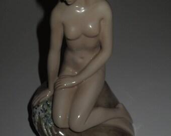 Vintage Georg Jensen Female Nude Figurine , Scandinavian Design ,  Mermaid