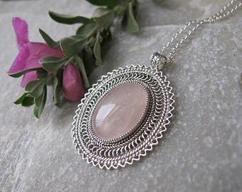 Jewelry, Necklace,  Silver necklace ,Filigree silver necklace, Rose Quartz necklace, Ethnic necklace,Israel jewelry