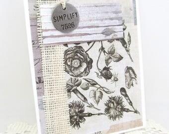 Simplify Card - Botanical Card - Rustic Card - White Card - Ivory Card - Burlap Card - Vintage Botanical - Blank Card - Textured Card