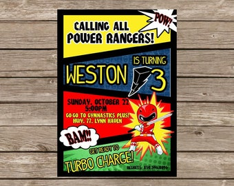 GO-GO Power Ranger Birthday Invitation