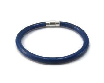 Thin Blue Line Bracelet - Blue Lives Bracelet - Leather Stacking Bracelet - Law Enforcement Bracelet - Blue Round Leather Bracelet