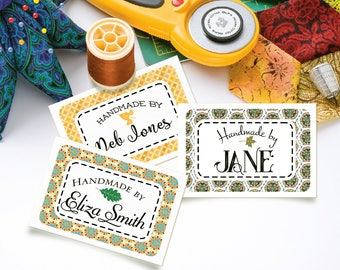 """Large Scale Custom Fabric Labels for Quilts, Blankets and Large Projects 3""""w x 2""""h – 24 Labels – Your Name Added – 100% Cotton Cloth – Uncut"""
