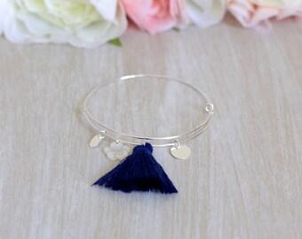 925 sterling silver spring ring, Navy Blue Pompom