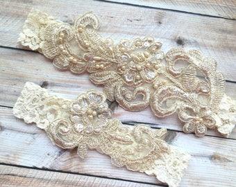 Wedding garter set rustic, rustic garter set, bridal garter, lace bridal garter, bridal garter set, ivory bridal garter, bridal garter lace