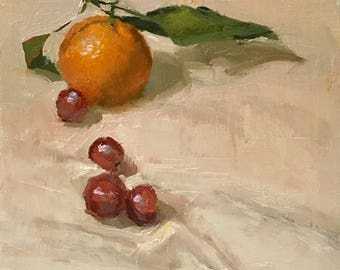 Tangy and sweet Original Oil Painting by Bhavani Krishnan Mandarin orange with leaf and grapes still life Fruit still life Kitchen art 6x6