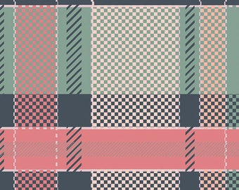 Mint green and pink plaid fabric by Capsules for Art Gallery Fabric #17283