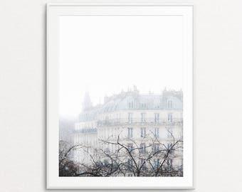 Paris Snowfall Photo - Paris Photography, Paris Print, Paris Winter, Paris Decor, Paris Wall Art Print, Paris Images, Paris Bedroom Decor