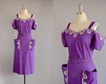1950s Dress // 50s Purple Off-the-Shoulder Pocket Dress w/ Soutache Embroidery  // M-L