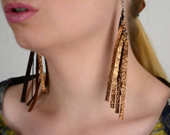 Copper earrings for her, copper anniversary for wife, Long fringe earrings, Leather jewelry, New year earrings, leather gift for wife,Fringe