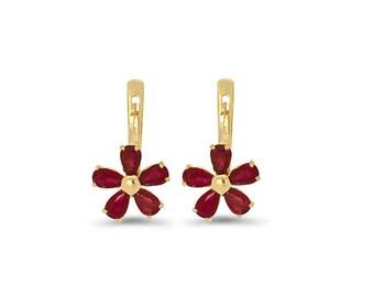 14k solid gold genuine ruby flower earrings. floral earrings, floral jewelry