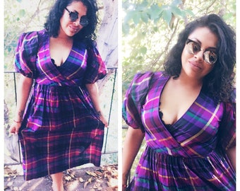 Vintage Plaid Puff Sleeve Dress