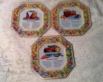 3 Piece Set of Avon Kitchen, Recipe Tins - Plum Pudding, Buche De Noel, Blueberry Orange Nut Bread Recipe Plate - 1982 Avon