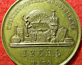 1879 Particularly Scarce Bad Ischl (AUSTRIA) Art Prize Medal In Gilt-Brass