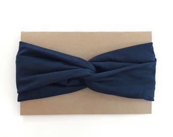 Turban large marine - Large navy turban headband