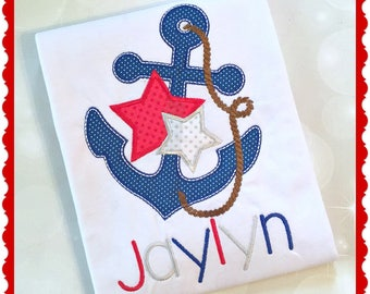 Anchor Shirt - Nautical Shirt - Sailor Shirt - Personalized Tee - Summer Top - 4th of July Shirt - Patriotic Shirt - Monogram Shirt