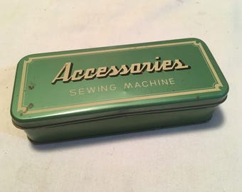 Vintage Sewing Machine Accessories Box with Buttons