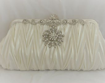 Bridal Handbag, Ivory Bridal Clutch, Crystal Wedding Clutch, Ivory Bridal Satin Clutch, Ivory Wedding Handbag, Vintage Inspired Satin Clutch