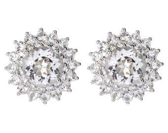 Sterling Silver 6.6ctw White Topaz Studs Earrings w/ Omega