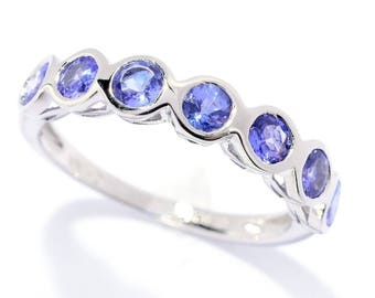 Sterling Silver 0.91ctw Tanzanite Seven Stone Band Ring SZ 5,6,7,8,9,10