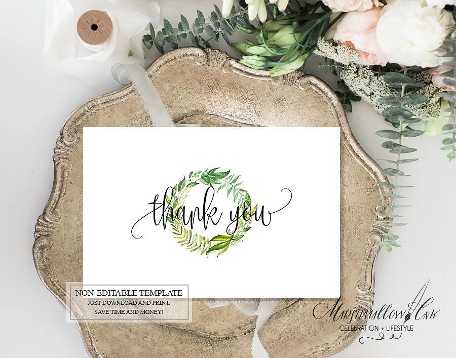 Green Leaves Wedding Thank you Cards, Thank you Card Printable Bridal Shower Thank You Baby Shower Thank You Cards, DIY Wedding Thank You