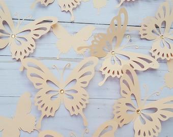 Paper Butterfly Peach Butterflies 3D Wall Decor Cutouts