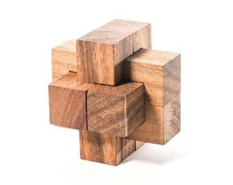 Burr Puzzle - mechanical puzzle, devil's knot, notch, brain teaser puzzle, puzzle knot, 3D wooden interlocking puzzle, 6 piece burr puzzle
