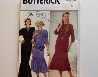 Vintage 1980s Butterick 6928 semi fitted pullover street or evening length dress sewing pattern