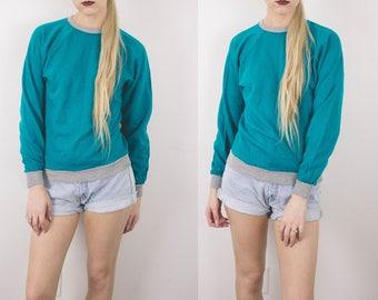 Vintage Teal Solid Sweatshirt / 80s Crew Neck Pullover Long Sleeve Retro Graphic Sweatshirt S32