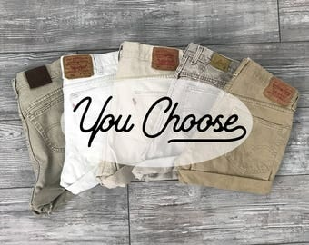 YOU PICK- All Sizes - Neutral Vintage High Waisted Denim Shorts / XS Small Medium Large xl Distressed Rolled Frayed High Waisted Shorts